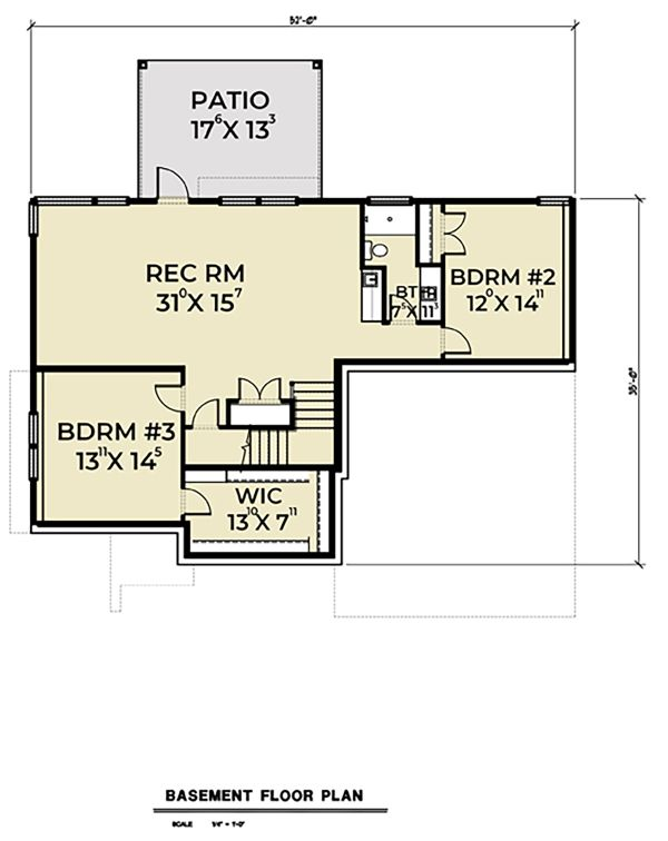 Contemporary Floor Plan - Lower Floor Plan Plan #1070-56