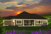 Ranch Style House Plan - 2 Beds 2 Baths 1709 Sq/Ft Plan #70-1208 Exterior - Rear Elevation