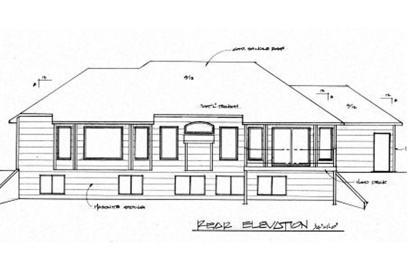 Traditional Exterior - Rear Elevation Plan #58-165 - Houseplans.com