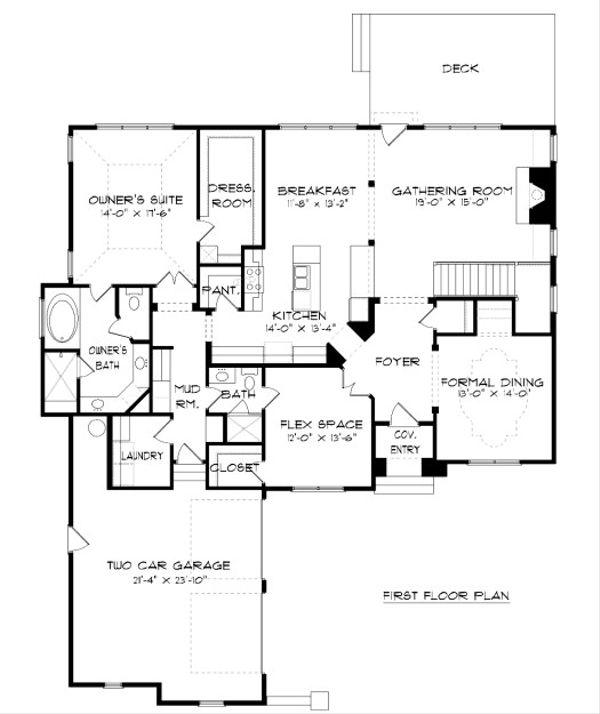 European Floor Plan - Main Floor Plan Plan #413-883