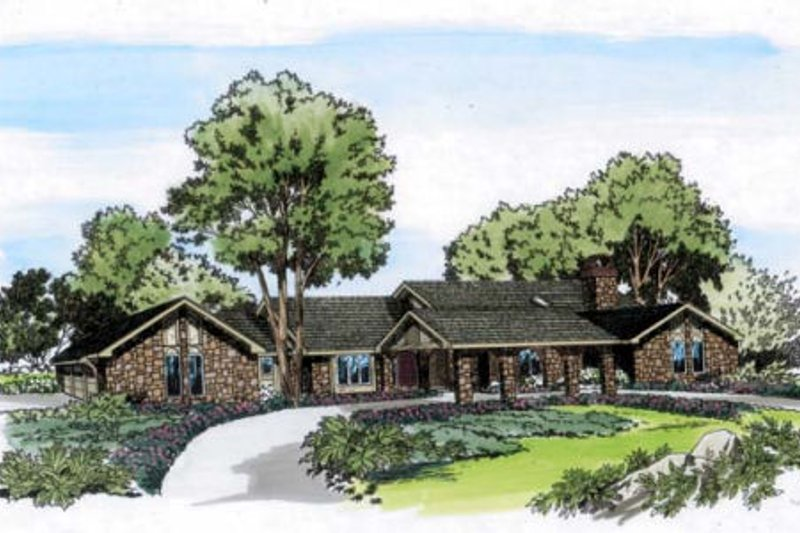 Traditional Style House Plan - 4 Beds 4.5 Baths 3972 Sq/Ft Plan #312-107 Exterior - Front Elevation