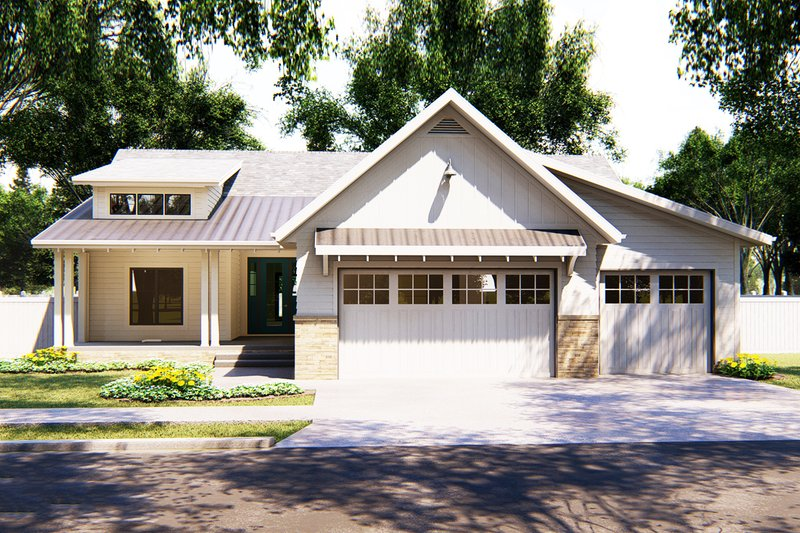 Cottage Exterior - Front Elevation Plan #455-223