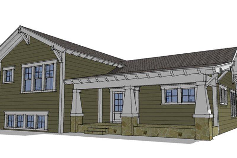 Craftsman Exterior - Rear Elevation Plan #64-303 - Houseplans.com