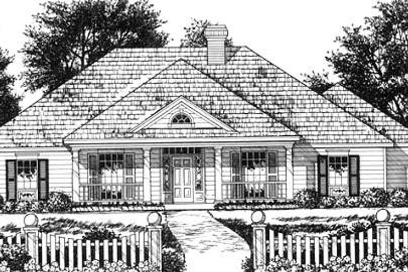 Country Exterior - Front Elevation Plan #40-429