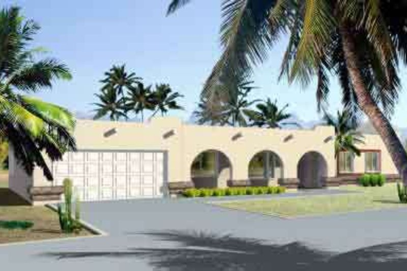 Adobe / Southwestern Style House Plan - 3 Beds 2 Baths 1931 Sq/Ft Plan #1-1380 Exterior - Front Elevation