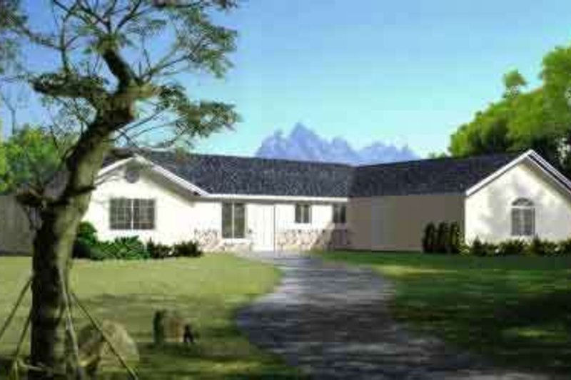 Adobe / Southwestern Style House Plan - 3 Beds 2 Baths 1795 Sq/Ft Plan #1-1352 Exterior - Front Elevation