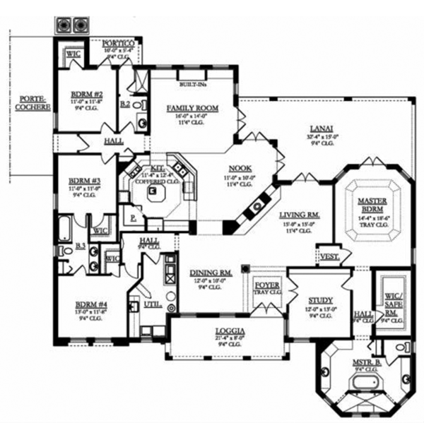 Mediterranean Floor Plan - Main Floor Plan Plan #1058-81