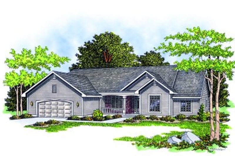 Traditional Style House Plan - 3 Beds 2.5 Baths 2196 Sq/Ft Plan #70-331 Exterior - Front Elevation