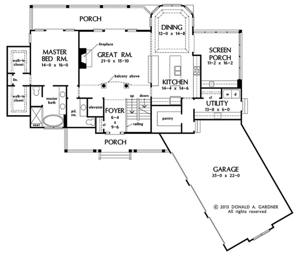 Craftsman Floor Plan - Main Floor Plan Plan #929-974