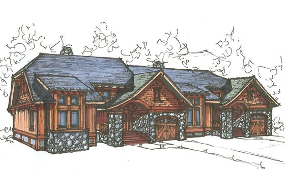 Craftsman Exterior - Front Elevation Plan #921-18