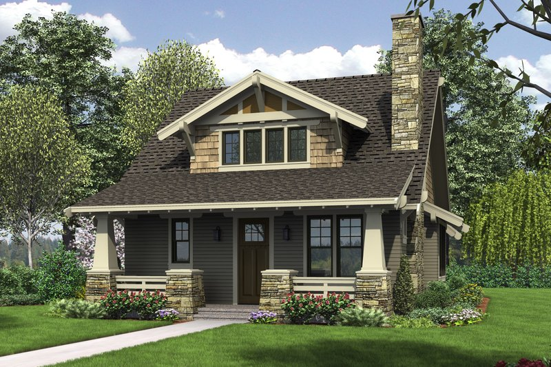 Bungalow Style House Plan - 3 Beds 2.5 Baths 1777 Sq/Ft Plan #48-646 Exterior - Front Elevation