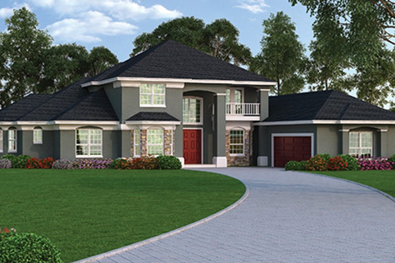 European Exterior - Rear Elevation Plan #417-813 - Houseplans.com