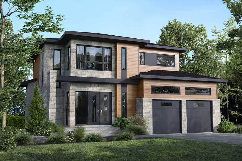 Home Plan - Contemporary Exterior - Front Elevation Plan #25-4884