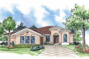 Mediterranean Exterior - Front Elevation Plan #930-390
