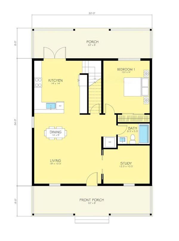 Dream House Plan - Cottage Floor Plan - Main Floor Plan #497-13