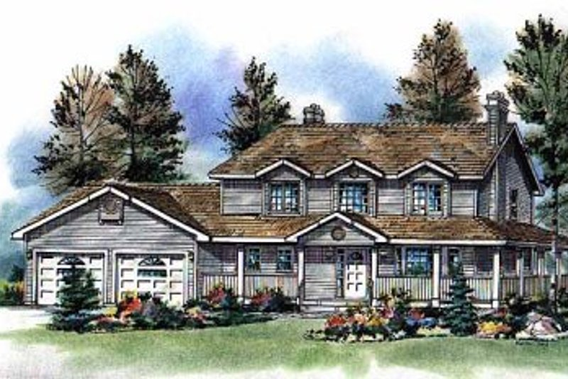 House Blueprint - Country Exterior - Front Elevation Plan #18-261