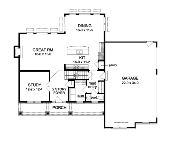 Country Floor Plan - Main Floor Plan Plan #1010-91