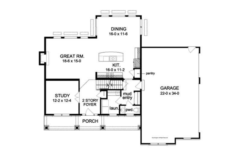 Country Floor Plan - Main Floor Plan Plan #1010-91