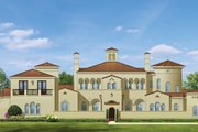 Mediterranean Style House Plan - 5 Beds 6 Baths 6302 Sq/Ft Plan #1058-25 Exterior - Front Elevation