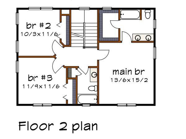 Craftsman Floor Plan - Upper Floor Plan Plan #79-297