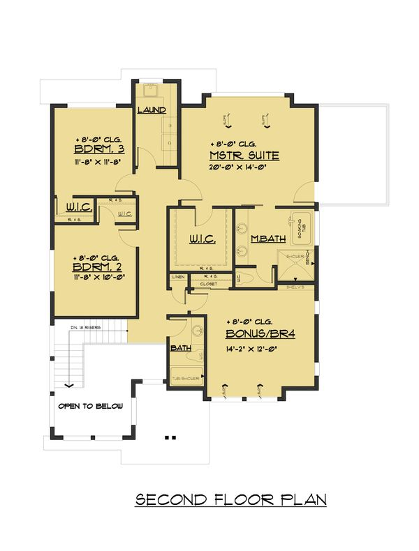 Contemporary Floor Plan - Upper Floor Plan #1066-81