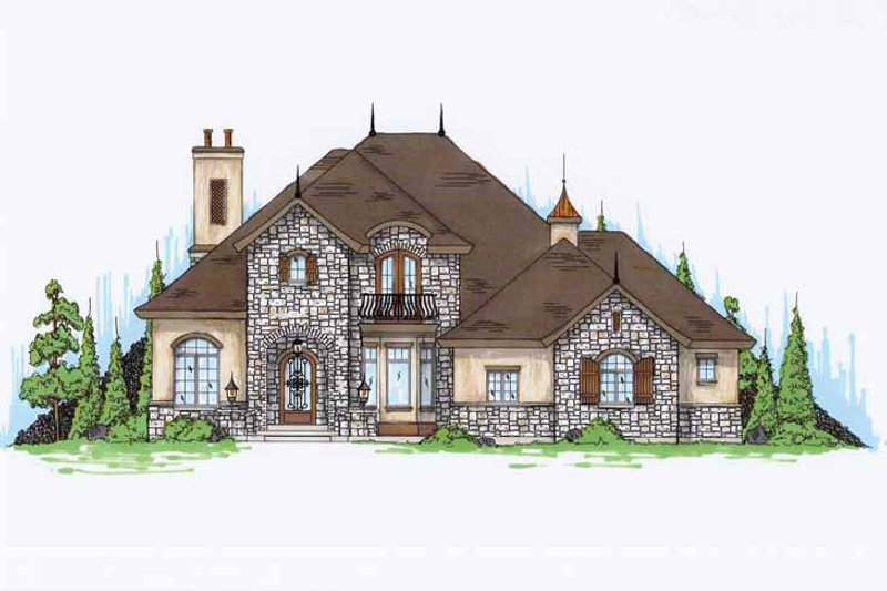 European Exterior - Front Elevation Plan #945-76