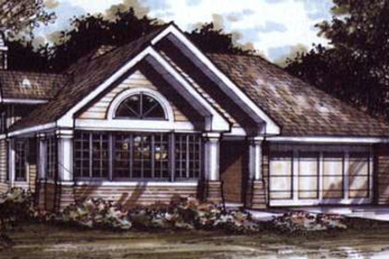 Bungalow Style House Plan - 1 Beds 2 Baths 1421 Sq/Ft Plan #320-386 Exterior - Front Elevation