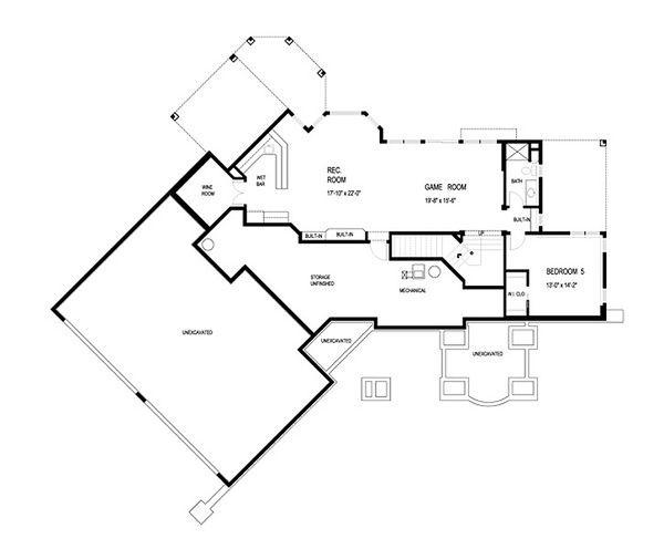 Traditional Floor Plan - Lower Floor Plan #56-599