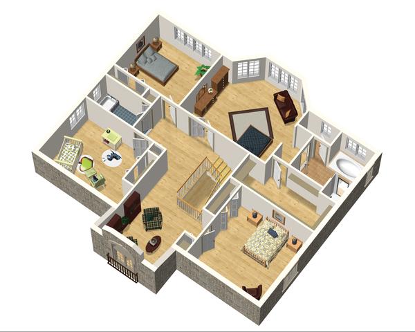 European Floor Plan - Upper Floor Plan Plan #25-4692