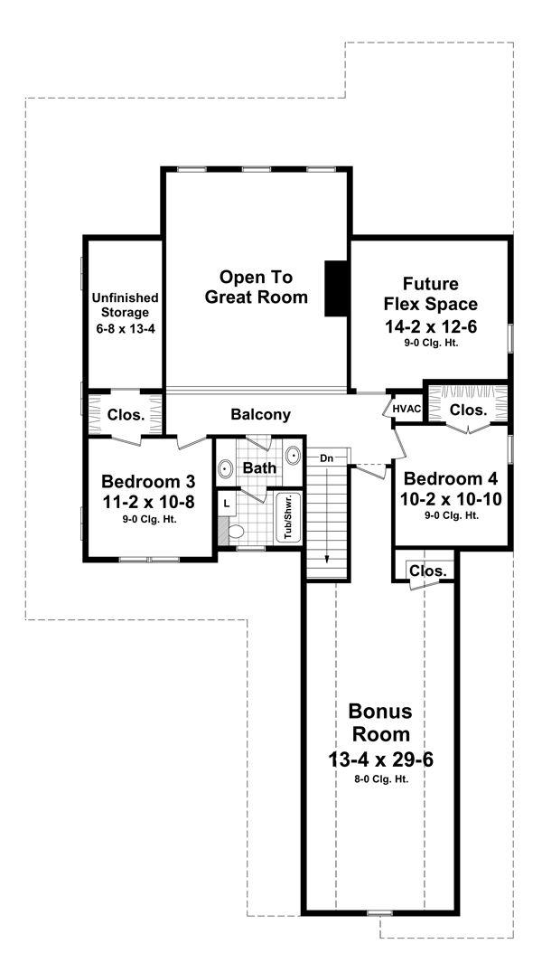 Farmhouse Floor Plan - Upper Floor Plan Plan #21-331
