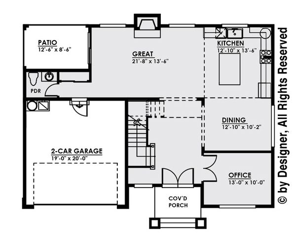 Contemporary Floor Plan - Main Floor Plan Plan #1066-4