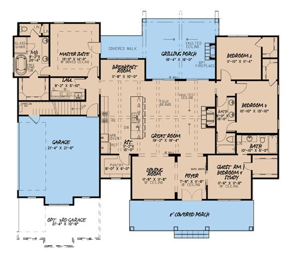 Dream House Plan - Country Floor Plan - Main Floor Plan #923-122