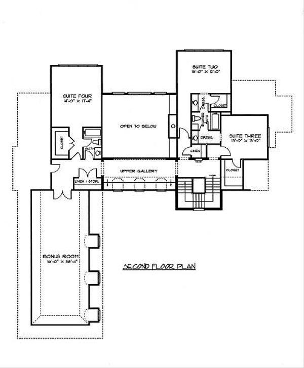 European Floor Plan - Upper Floor Plan Plan #413-147