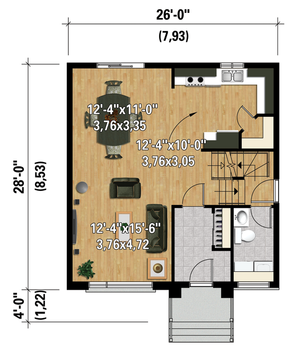 Contemporary Floor Plan - Main Floor Plan Plan #25-4295
