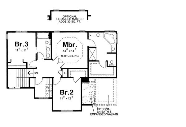 Craftsman Floor Plan - Upper Floor Plan Plan #20-2084