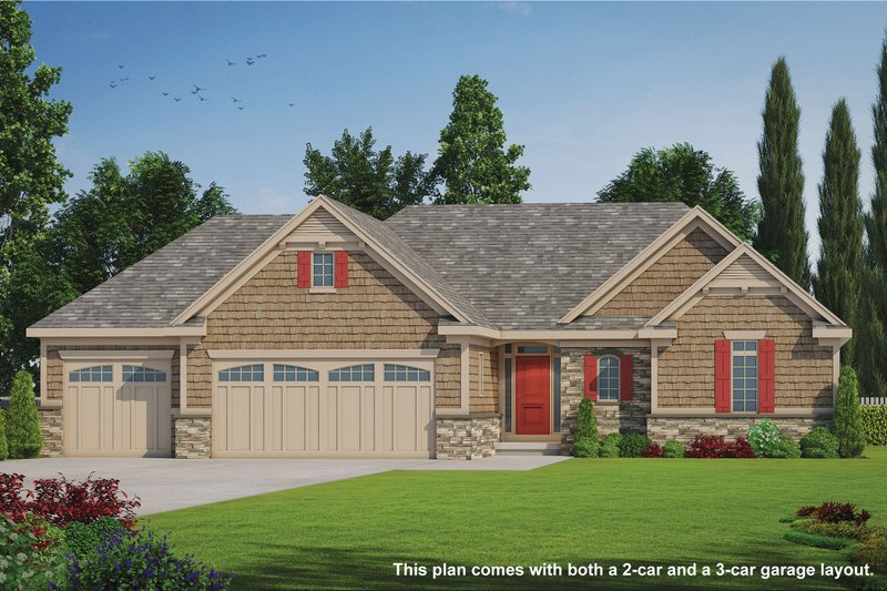 Craftsman Style House Plan - 2 Beds 2 Baths 1436 Sq/Ft Plan #20-2066 Exterior - Front Elevation