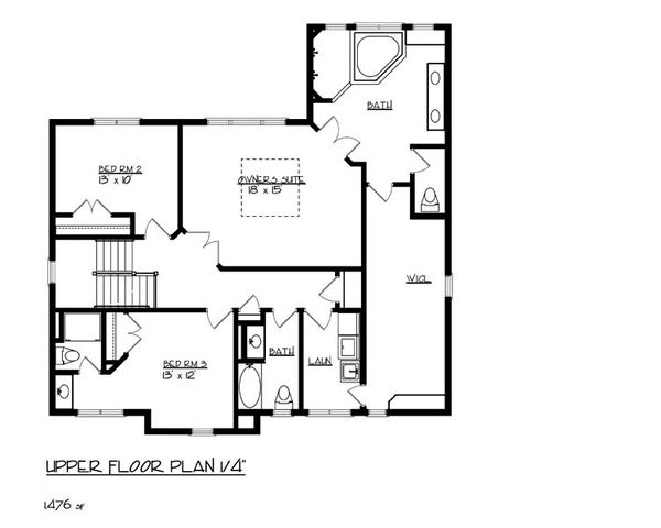 Craftsman Floor Plan - Upper Floor Plan Plan #320-491