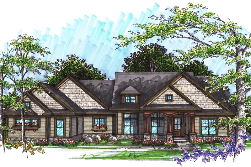 Ranch Exterior - Front Elevation Plan #70-1036