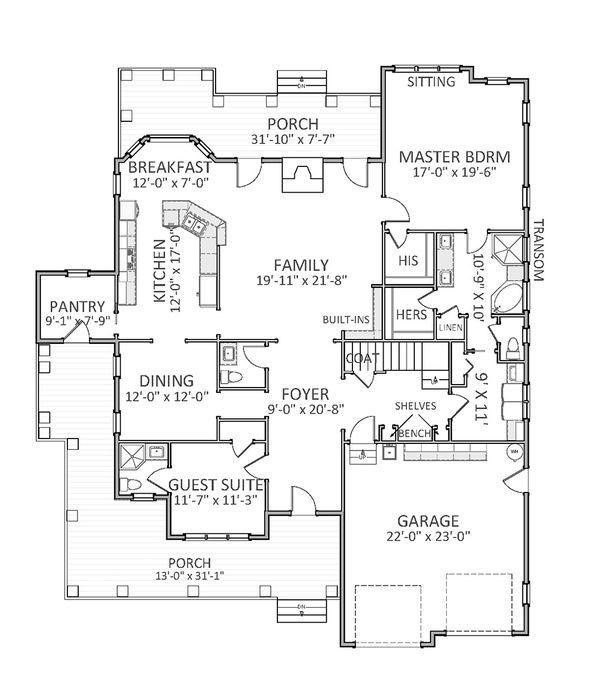 Traditional Floor Plan - Main Floor Plan Plan #898-27