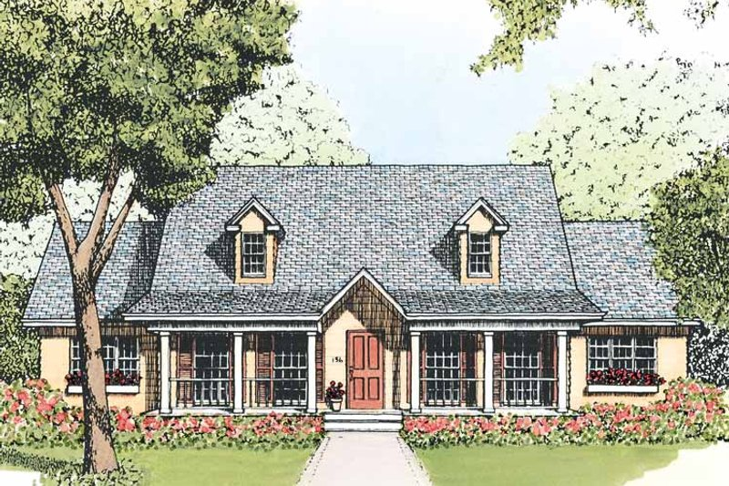 Country Exterior - Front Elevation Plan #1051-8
