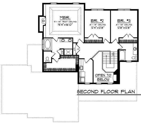 Southern Floor Plan - Upper Floor Plan Plan #70-1230