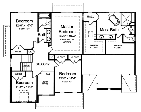 Colonial Floor Plan - Upper Floor Plan Plan #46-860