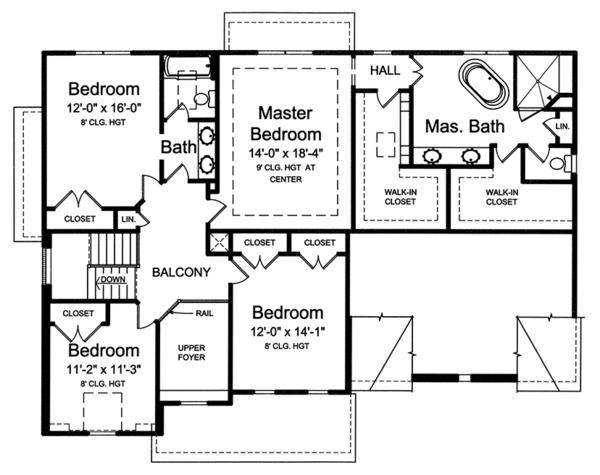 House Plan Design - Colonial Floor Plan - Upper Floor Plan #46-860