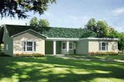 Ranch Style House Plan - 3 Beds 2 Baths 1964 Sq/Ft Plan #1-1387 Exterior - Front Elevation