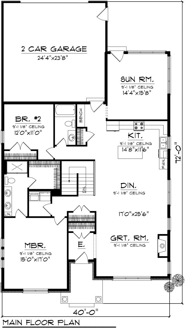 Craftsman Floor Plan - Main Floor Plan #70-1114