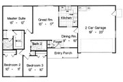 Ranch Style House Plan - 3 Beds 2 Baths 1167 Sq/Ft Plan #417-107 Floor Plan - Main Floor Plan