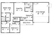Ranch Style House Plan - 3 Beds 2 Baths 1167 Sq/Ft Plan #417-107 Floor Plan - Main Floor Plan