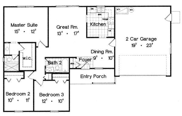 Ranch Floor Plan - Main Floor Plan Plan #417-107