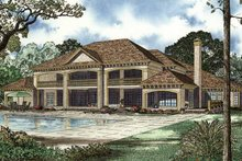 House Plan Design - Mediterranean Exterior - Rear Elevation Plan #17-3282