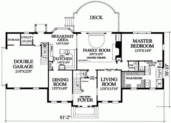 Southern Floor Plan - Main Floor Plan Plan #137-192